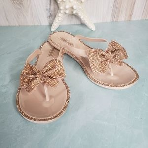 New! Rose Gold Bow Rhinestone Jelly Sandals